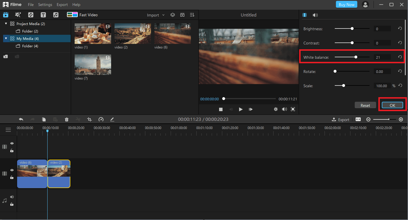 How to Adjust Video White Balance with Filme