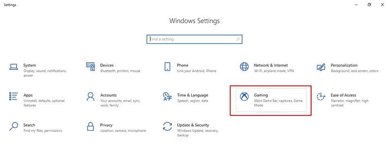 Windows 10 settings gaming