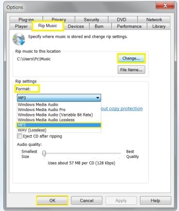windows media player mp3 conversion