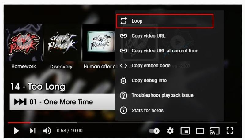 youtube video loop