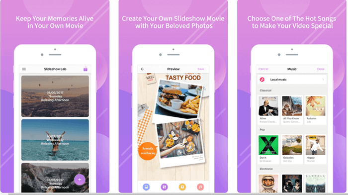 slideshow app interface