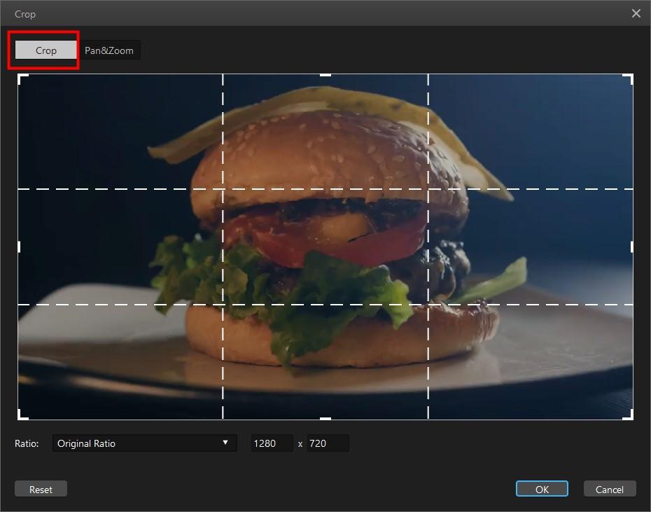 crop video in filme