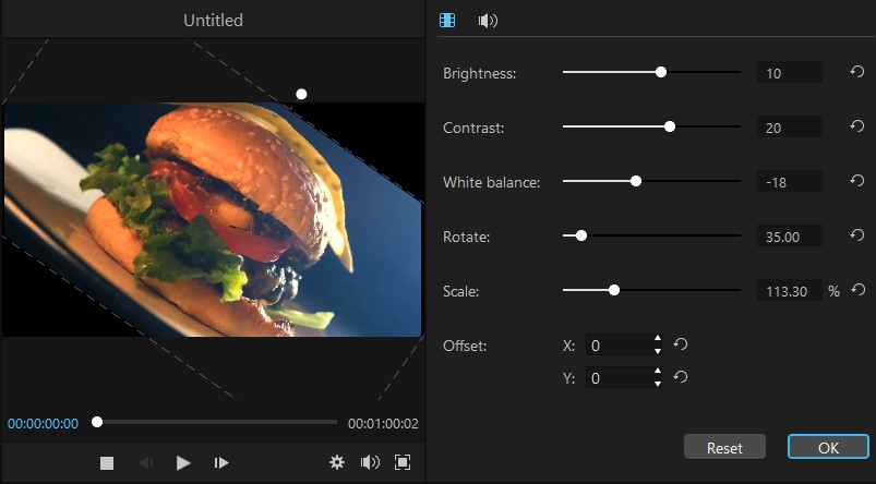 rotate scale offset video in filme