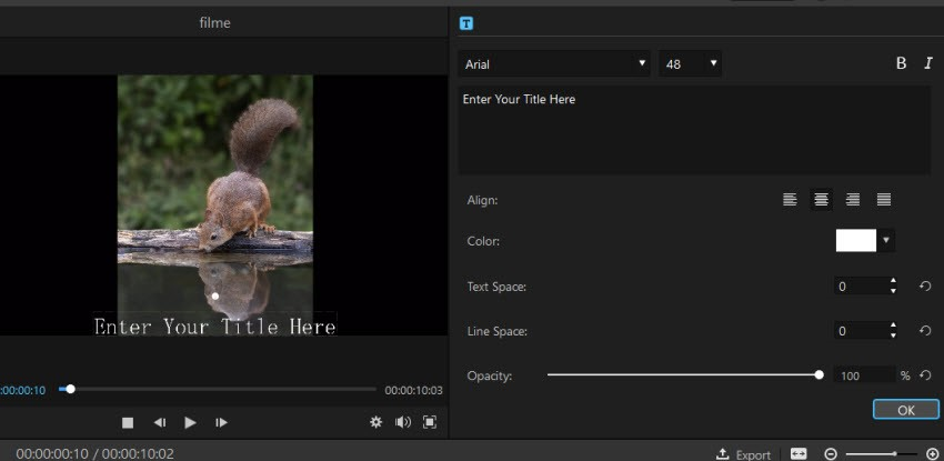 add text to video in Filme 2