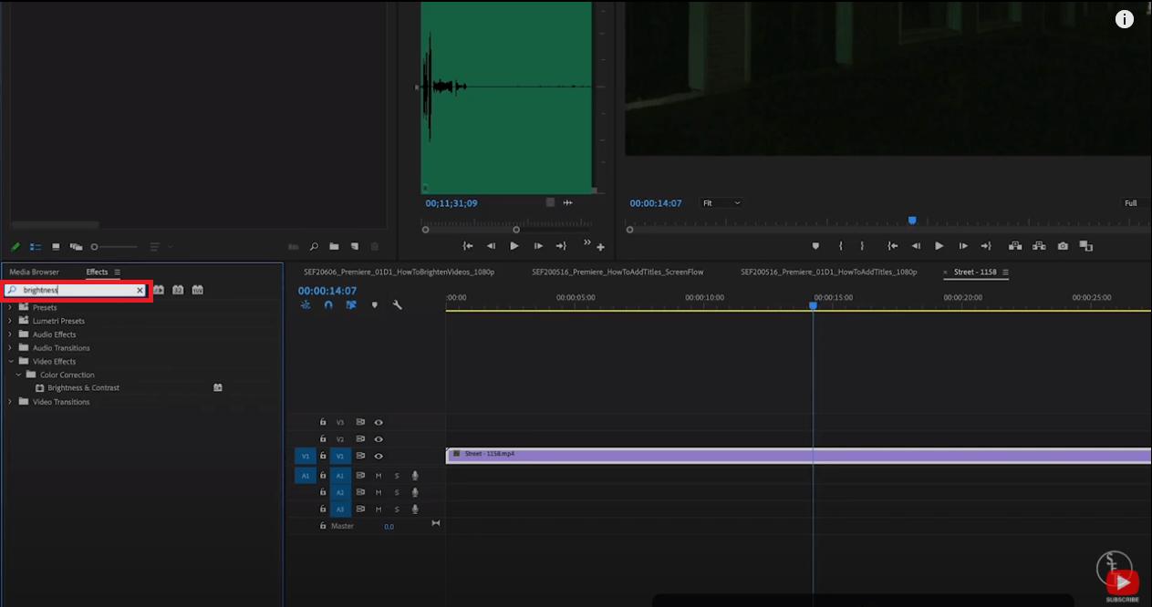 brighten video adobe premiere pro