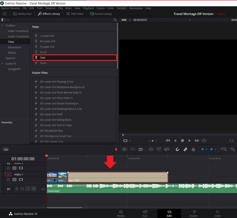 how to add text to video in davinci resolve 5