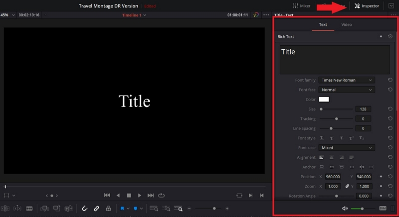 how to add text to video in davinci resolve 6