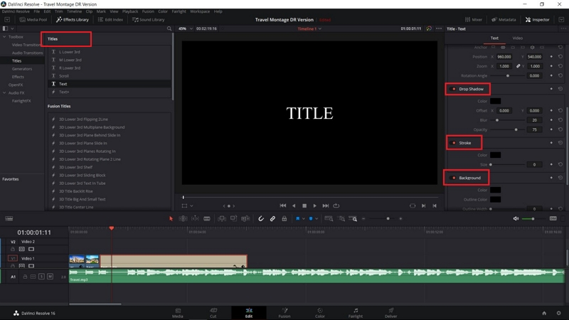 how to add text to video in davinci resolve 7