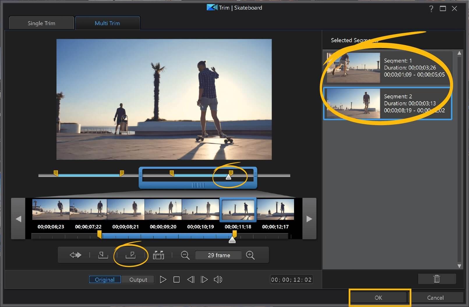powerdirector trim video