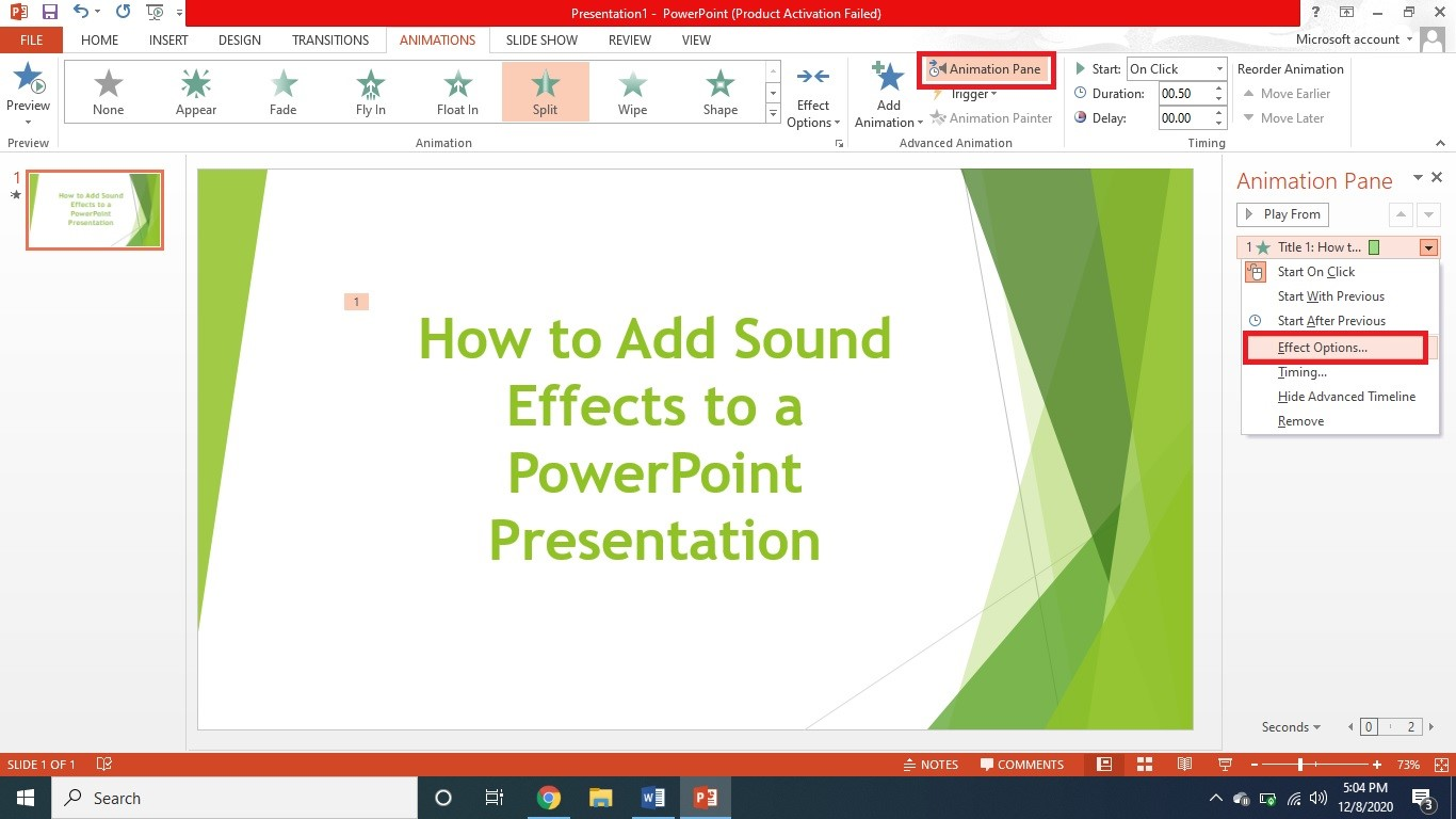 put sound effects to powerpoint 3