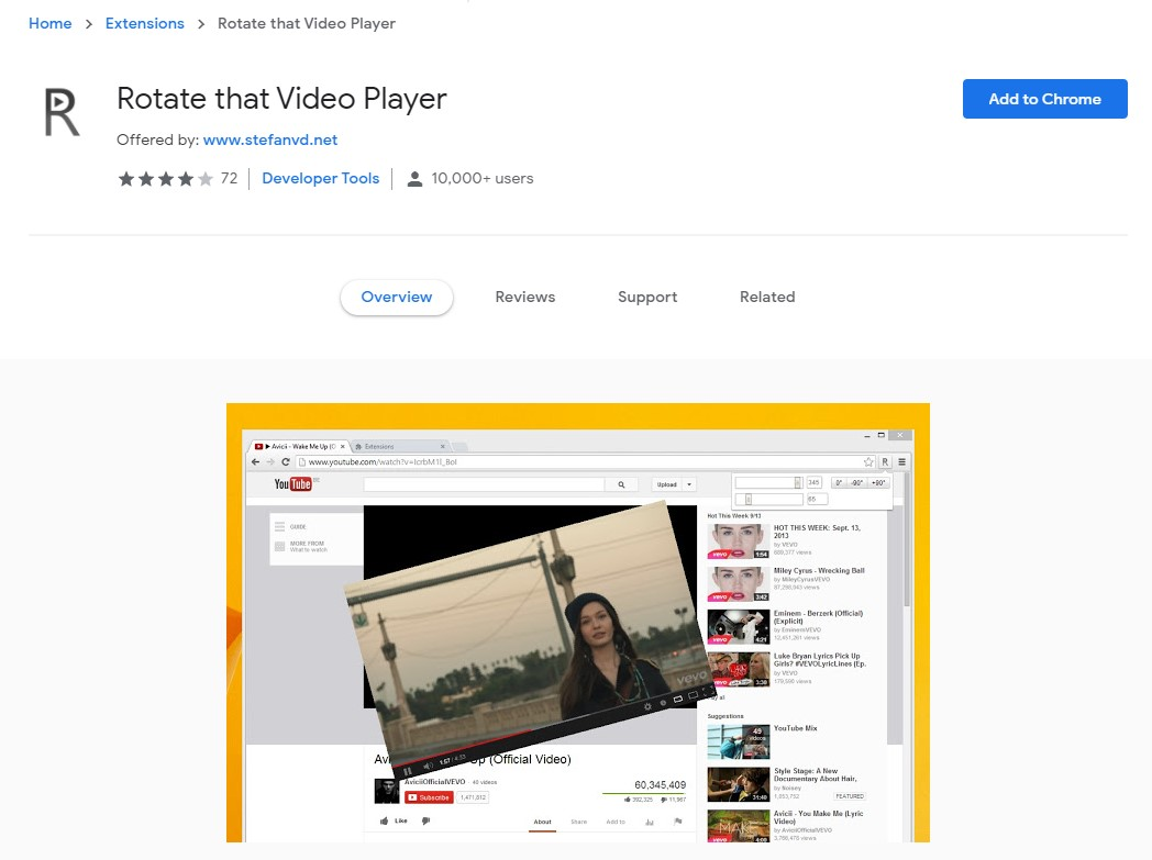 rotate youtube video chrome extension