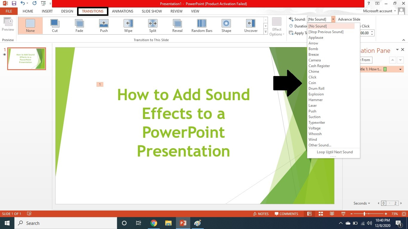 transition a song in powerpoint