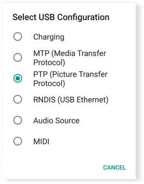 options de connexion USB