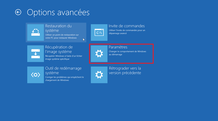 Paramètres dans Windows