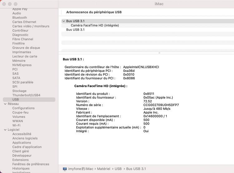 afficher les informations sur le disque dur externe