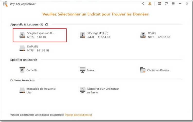 sélectionner l'emplacement du disque dur externe