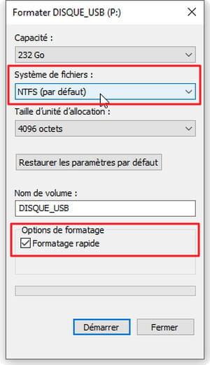 Réglage des options de formatage