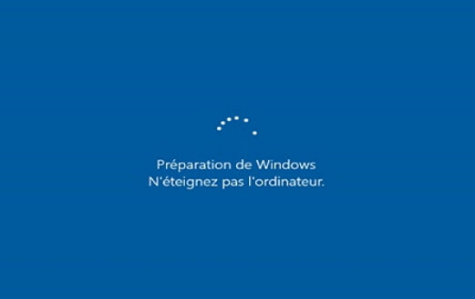 préparation de Windows, n'éteignez pas l'ordinateur