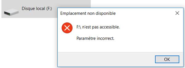 paramètre incorrect du disque dur externe