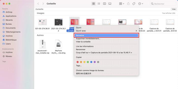 Récupérer le fichier de la corbeille Mac