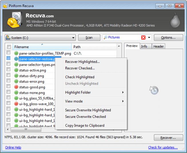 restaurer les fichiers de la carte SD avec Recuva