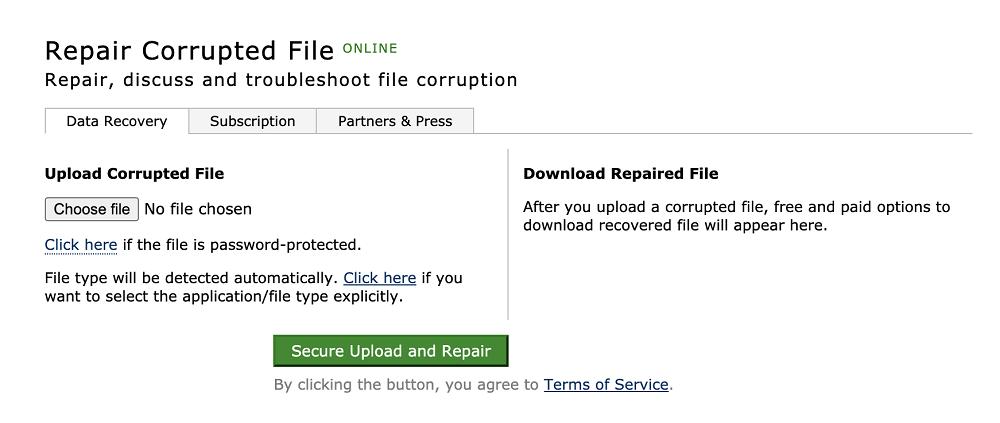 Repair Corrupted File Online