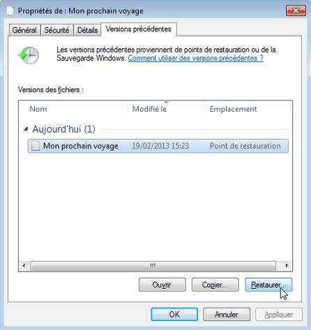 restaurer un fichier Excel écrasé