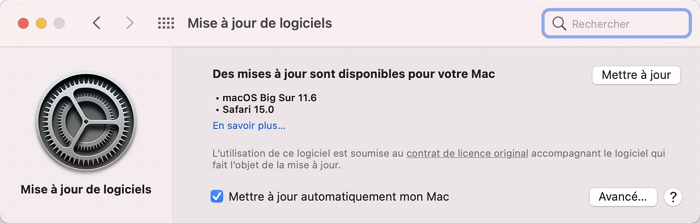 actualiser MacOS
