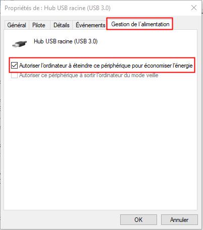 Paramètres de gestion de l'énergie de USB