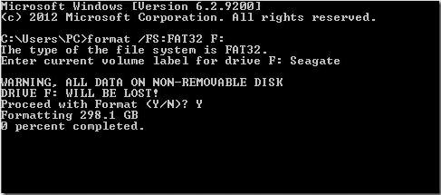 exécutez la commande pour formater la clé USB en FAT32