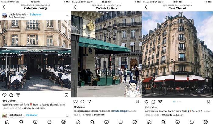3 lieux populaires instagram