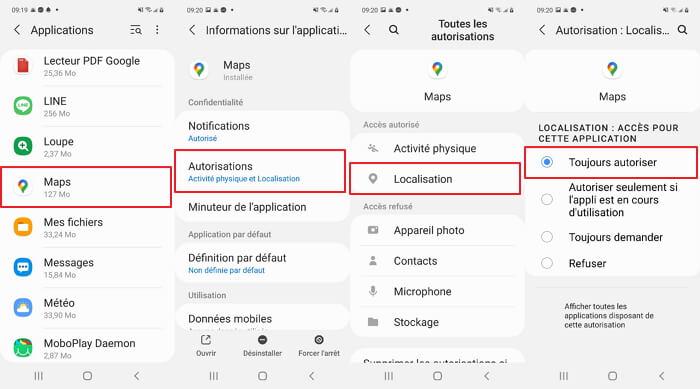 Paramètres de positionnement d'Android