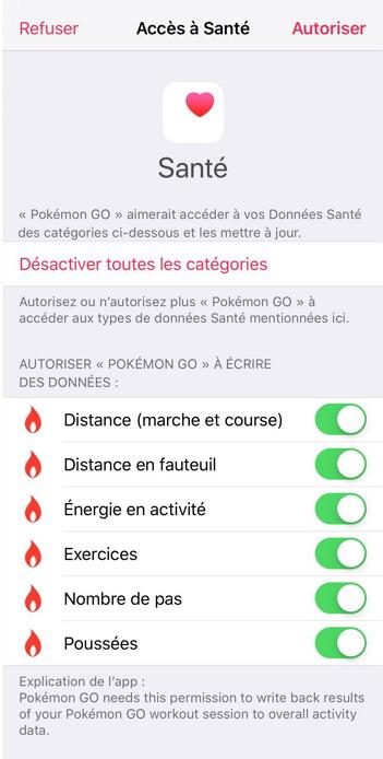 Autoriser Pokémon Go accéder à Santé