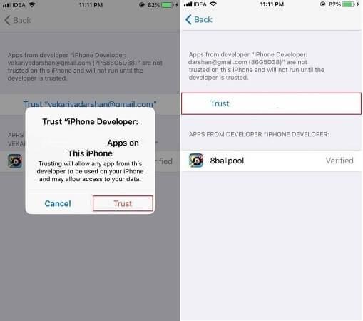 faire confiance à iPoGo sur iPhone