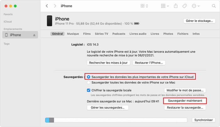 Sauvegarde des données de votre iPhone sur iCloud