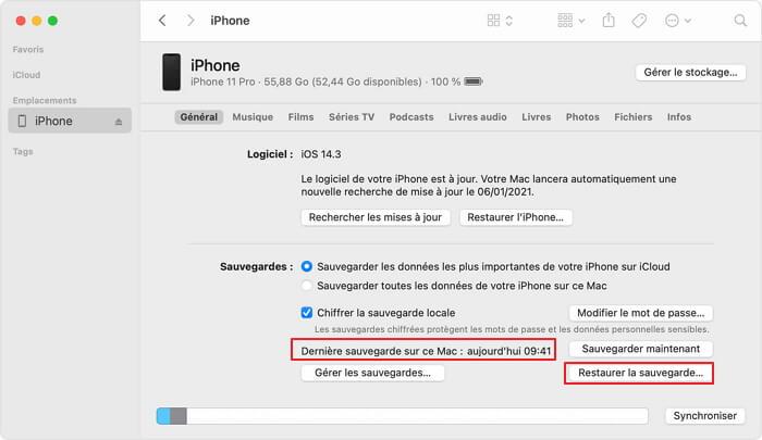Confirmer la date de sauvegarde iTunes