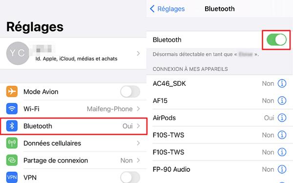 désactiver puis réactiver le Bluetooth