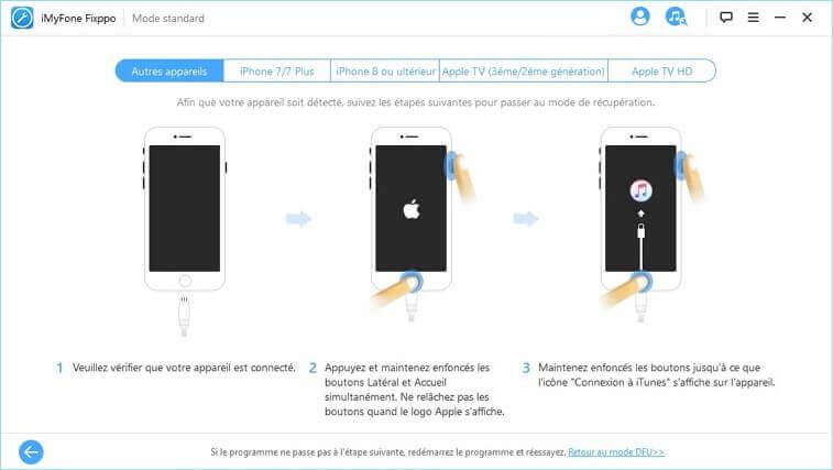 mettre iphone en mode de récupération