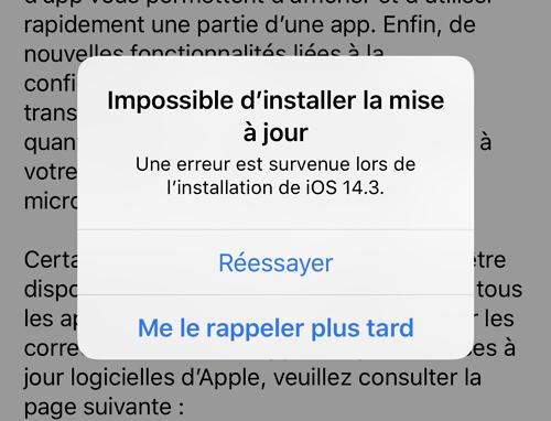 impossible d'installer la mise à jour iOS 15