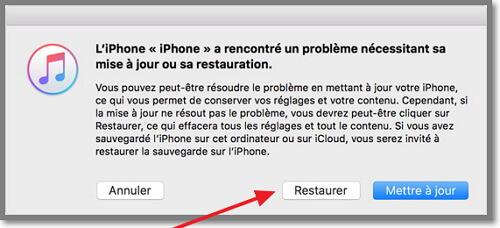 restaurer l'iphone en mode récupération