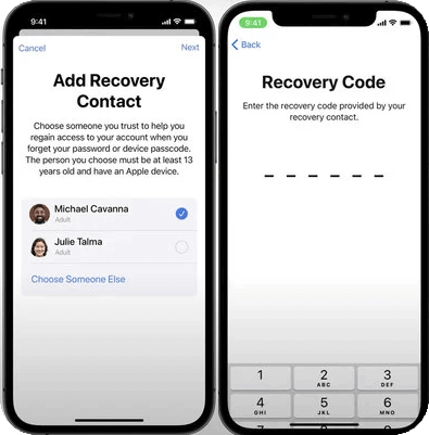 Contacts de récupération de compte Apple