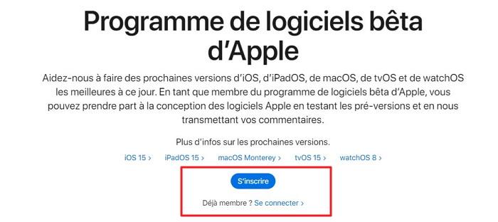 télécharger et installer iOS 15