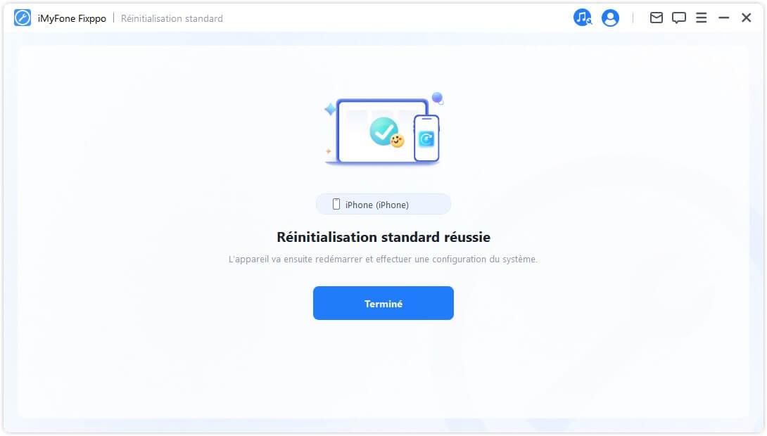 réinitialisation standard réussie