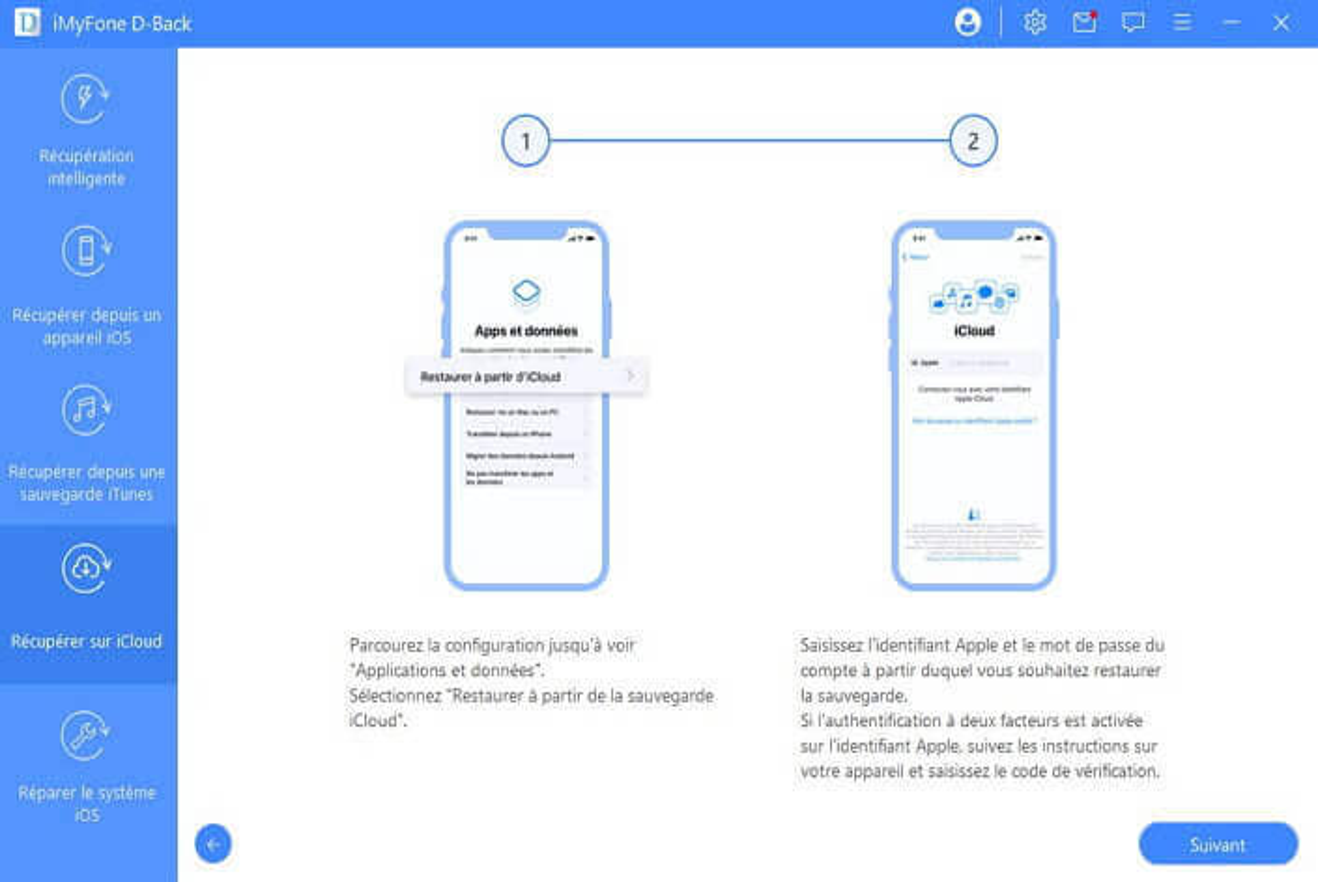 sélectionnez la sauvegarde iCloud à analyser