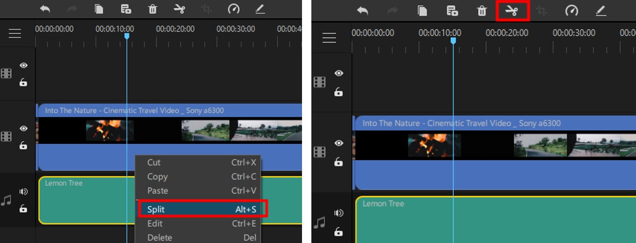 Diviser un fichier audio dans le filme