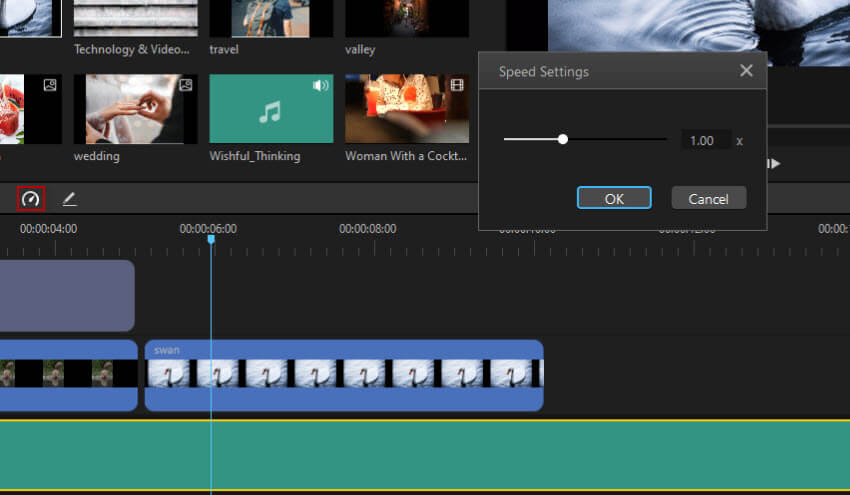 Régler la vitesse du fichier audio dans le filme