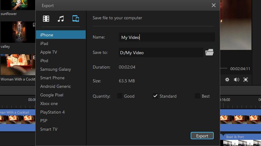 exporter la vidéo vers un autre appareil