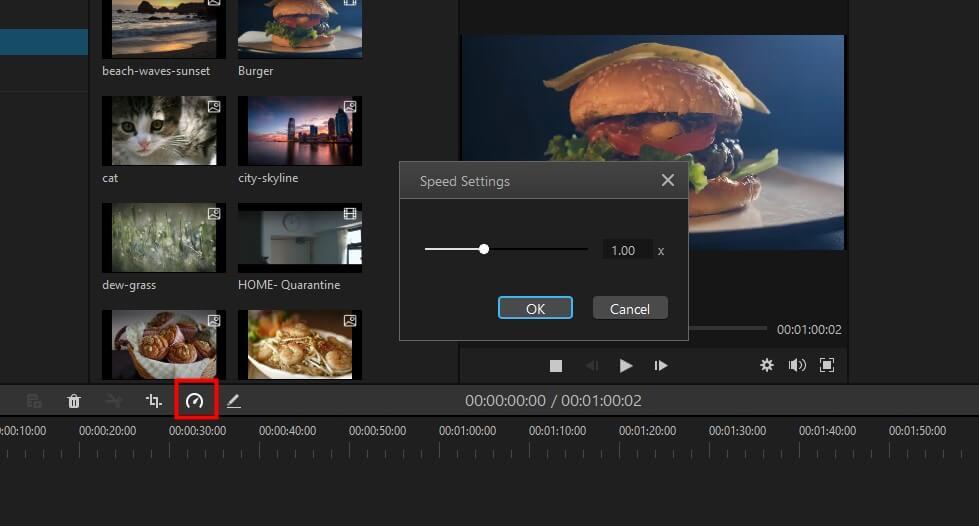 change video speed in filme