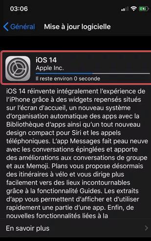 la mise a jour iOS