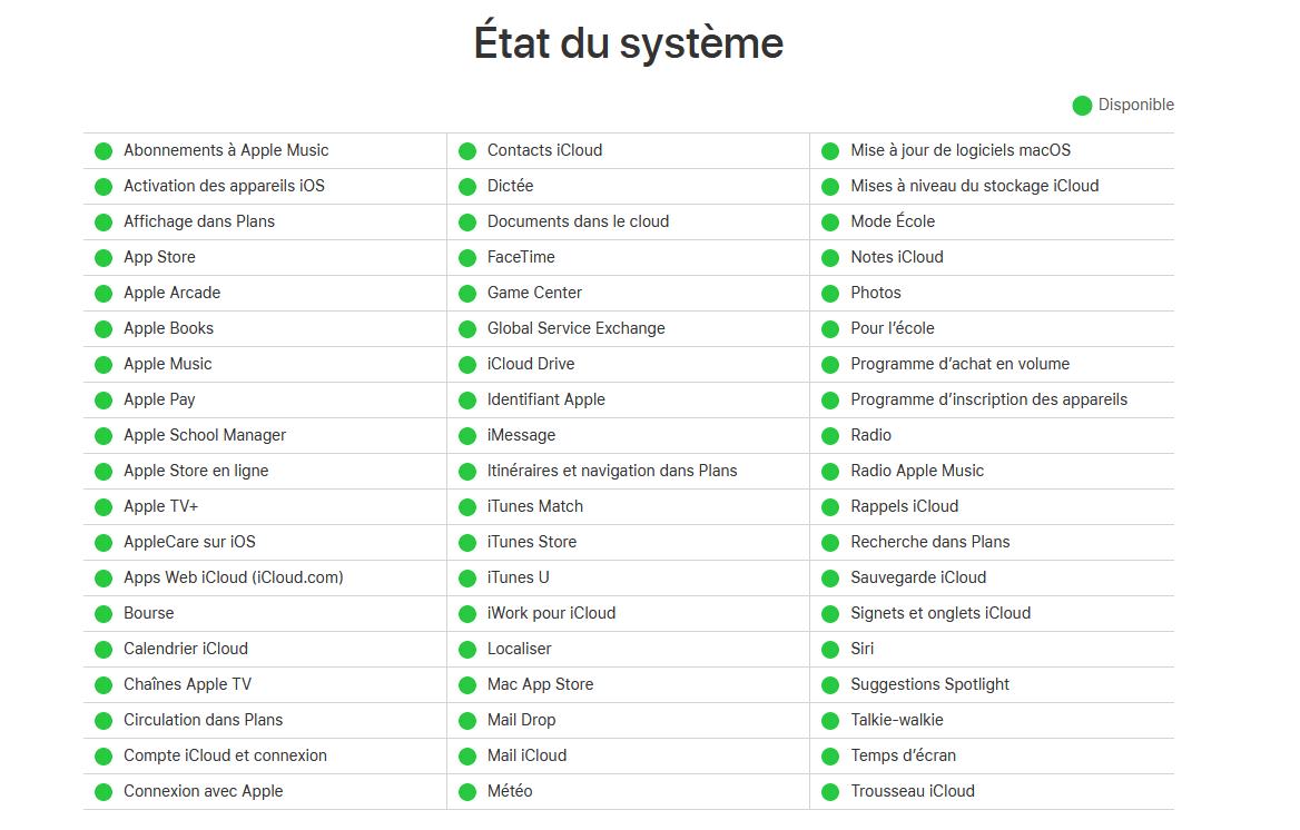 verifier etat et la disponibilite des serveurs Apple
